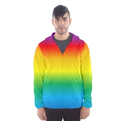 Rainbow Background Colourful Hooded Wind Breaker (men)