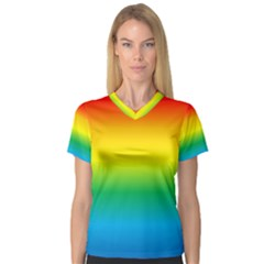 Rainbow Background Colourful Women s V Neck Sport Mesh Tee