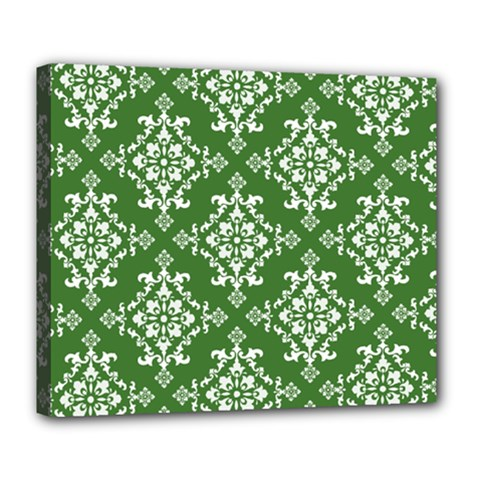 St Patrick S Day Damask Vintage Green Background Pattern Deluxe Canvas 24  X 20   by Simbadda