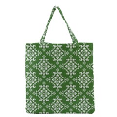 St Patrick S Day Damask Vintage Green Background Pattern Grocery Tote Bag