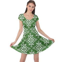 St Patrick S Day Damask Vintage Green Background Pattern Cap Sleeve Dresses
