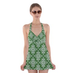 St Patrick S Day Damask Vintage Green Background Pattern Halter Swimsuit Dress