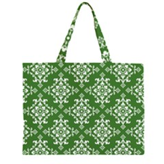 St Patrick S Day Damask Vintage Green Background Pattern Zipper Large Tote Bag by Simbadda