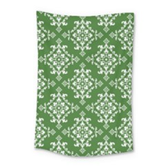 St Patrick S Day Damask Vintage Green Background Pattern Small Tapestry