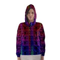 Rainbow Grid Form Abstract Hooded Wind Breaker (women) by Simbadda