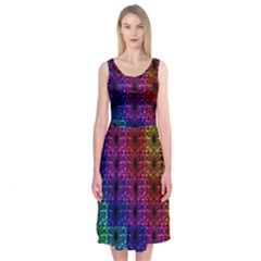 Rainbow Grid Form Abstract Midi Sleeveless Dress
