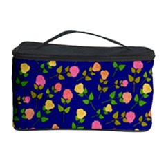 Flowers Roses Floral Flowery Blue Background Cosmetic Storage Case by Simbadda