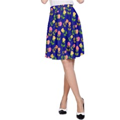Flowers Roses Floral Flowery Blue Background A Line Skirt by Simbadda