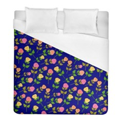 Flowers Roses Floral Flowery Blue Background Duvet Cover (full/ Double Size)