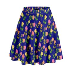 Flowers Roses Floral Flowery Blue Background High Waist Skirt by Simbadda