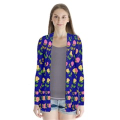 Flowers Roses Floral Flowery Blue Background Cardigans by Simbadda
