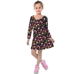 Flowers Roses Floral Flowery Kids  Long Sleeve Velvet Dress