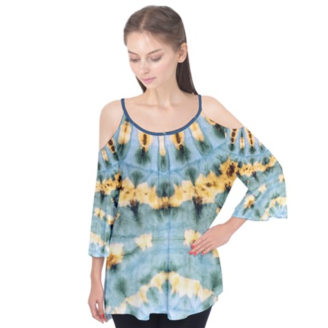 Elephant On Sky2 Flutter Sleeve Tee  by Wanni