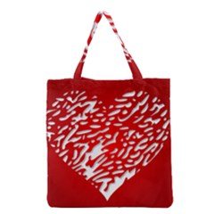 Heart Design Love Red Grocery Tote Bag