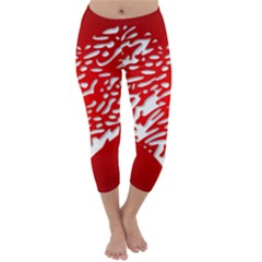 Heart Design Love Red Capri Winter Leggings