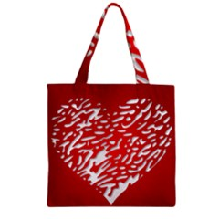Heart Design Love Red Zipper Grocery Tote Bag