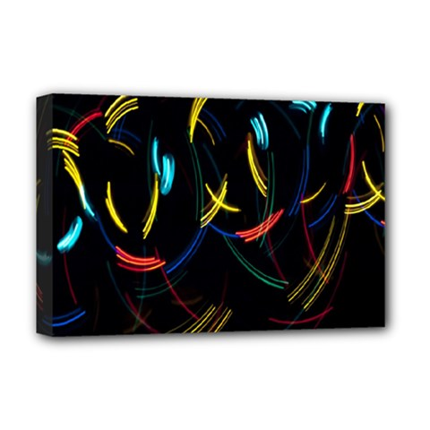 Yellow Blue Red Arcs Light Deluxe Canvas 18  X 12