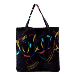 Yellow Blue Red Arcs Light Grocery Tote Bag by Alisyart