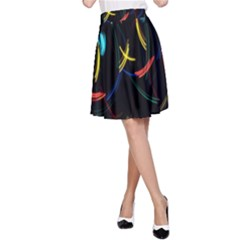 Yellow Blue Red Arcs Light A Line Skirt