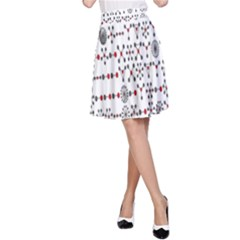 Bioplex Random Kimia Circle Grey Red A Line Skirt