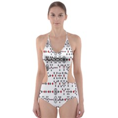 Bioplex Random Kimia Circle Grey Red Cut Out One Piece Swimsuit