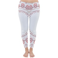 Floral Frame Pink Red Star Leaf Flower Classic Winter Leggings