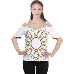 Frame Floral Tree Flower Leaf Star Circle Women s Cutout Shoulder Tee by Alisyart