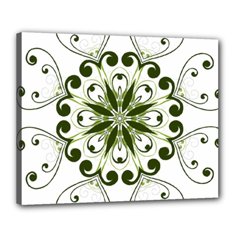 Frame Flourish Flower Green Star Canvas 20  X 16