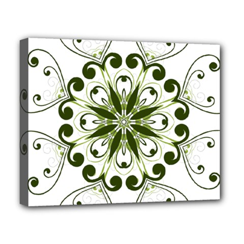 Frame Flourish Flower Green Star Deluxe Canvas 20  X 16   by Alisyart