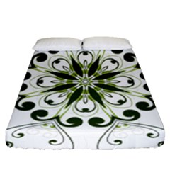 Frame Flourish Flower Green Star Fitted Sheet (queen Size) by Alisyart