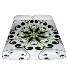 Frame Flourish Flower Green Star Fitted Sheet (california King Size)