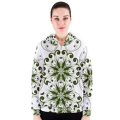 Frame Flourish Flower Green Star Women s Zipper Hoodie