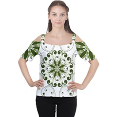 Frame Flourish Flower Green Star Women s Cutout Shoulder Tee