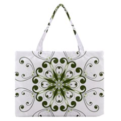 Frame Flourish Flower Green Star Medium Zipper Tote Bag by Alisyart