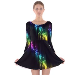 Illustrations Black Colorful Line Purple Yellow Pink Long Sleeve Velvet Skater Dress