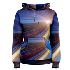 Glow Motion Lines Light Blue Gold Women s Pullover Hoodie