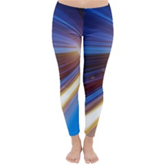Glow Motion Lines Light Blue Gold Classic Winter Leggings