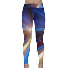 Glow Motion Lines Light Blue Gold Classic Yoga Leggings by Alisyart