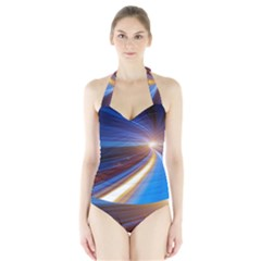 Glow Motion Lines Light Blue Gold Halter Swimsuit by Alisyart