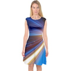 Glow Motion Lines Light Blue Gold Capsleeve Midi Dress