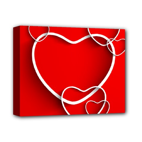Heart Love Valentines Day Red Deluxe Canvas 14  X 11  by Alisyart