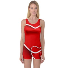 Heart Love Valentines Day Red One Piece Boyleg Swimsuit