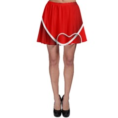 Heart Love Valentines Day Red Skater Skirt