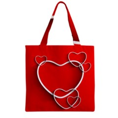 Heart Love Valentines Day Red Grocery Tote Bag by Alisyart