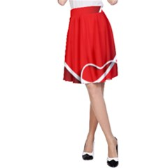 Heart Love Valentines Day Red A Line Skirt