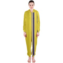 Yellow Blue Background Stripes Hooded Jumpsuit (ladies)