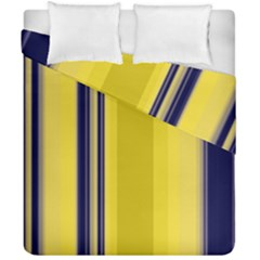 Yellow Blue Background Stripes Duvet Cover Double Side (california King Size) by Simbadda