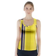 Yellow Blue Background Stripes Racer Back Sports Top