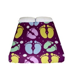 Baby Feet Patterned Backing Paper Pattern Fitted Sheet (full/ Double Size) by Simbadda