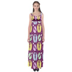 Baby Feet Patterned Backing Paper Pattern Empire Waist Maxi Dress